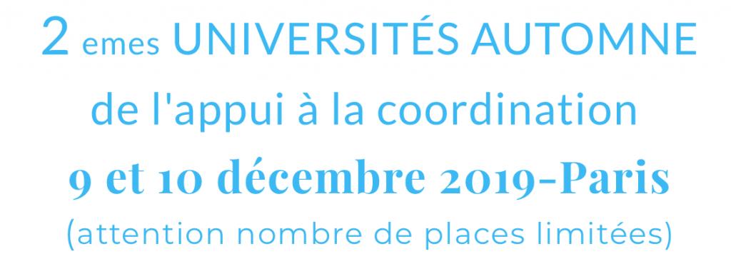 2èmes Universités d'Automne de l'appui à la coordination - 9-10 décembre 2019